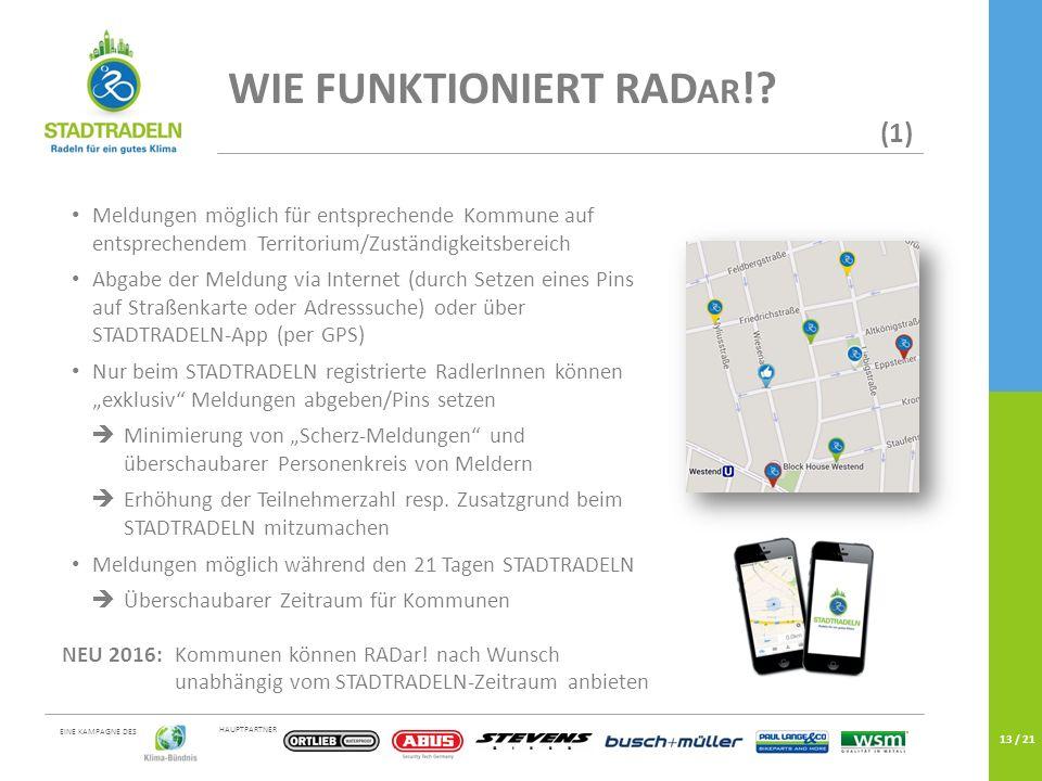 HAUPTPARTNER EINE KAMPAGNE DES 13 / 21 WIE FUNKTIONIERT RAD AR !.