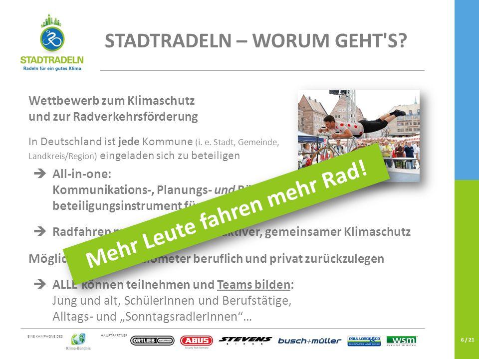 HAUPTPARTNER EINE KAMPAGNE DES 6 / 21 Wettbewerb zum Klimaschutz und zur Radverkehrsförderung In Deutschland ist jede Kommune (i.