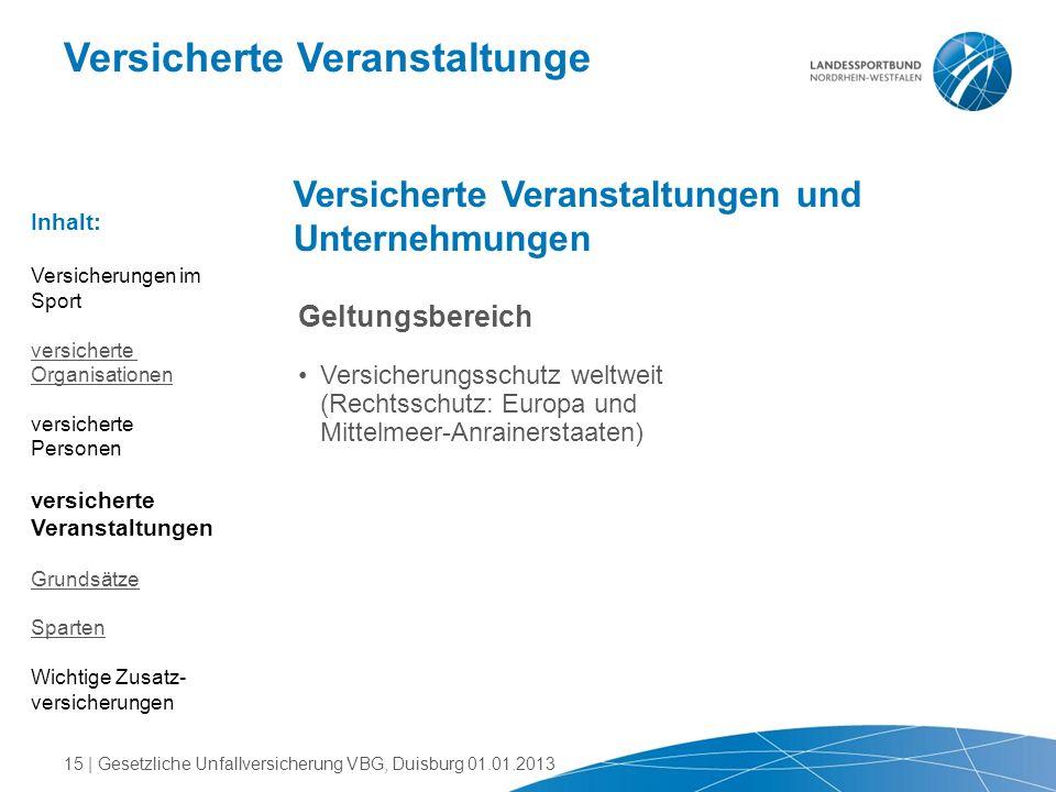 Versicherte Veranstaltunge Versicherte Veranstaltungen und Unternehmungen Geltungsbereich Versicherungsschutz weltweit (Rechtsschutz: Europa und Mitte
