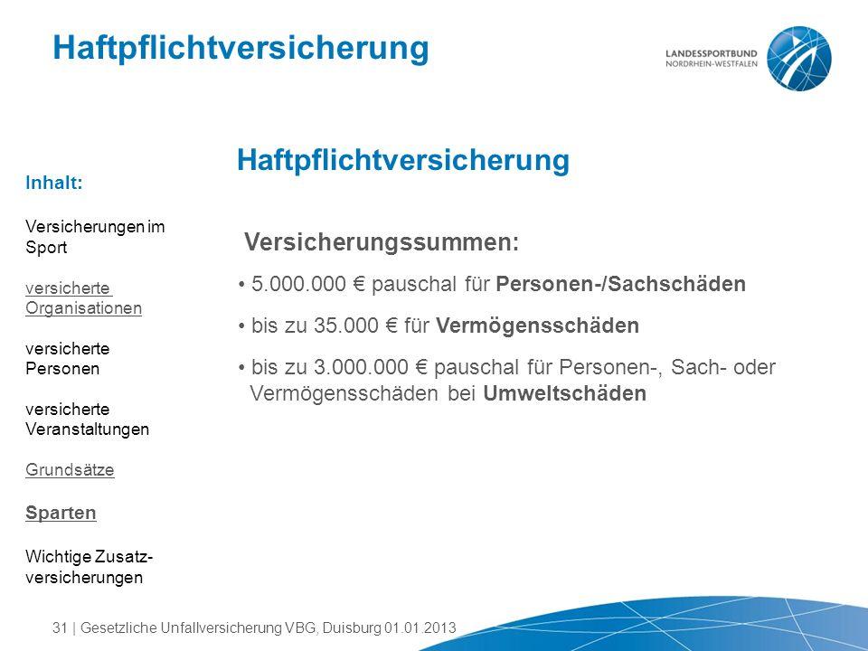 Haftpflichtversicherung Versicherungssummen: 5.000.000 € pauschal für Personen-/Sachschäden bis zu 35.000 € für Vermögensschäden bis zu 3.000.000 € pa
