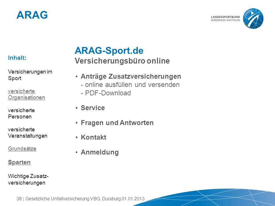 ARAG ARAG-Sport.de Versicherungsbüro online Anträge Zusatzversicherungen - online ausfüllen und versenden - PDF-Download Service Fragen und Antworten
