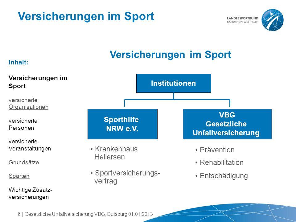 Versicherungen im Sport Institutionen Sporthilfe NRW e.V. VBG Gesetzliche Unfallversicherung Krankenhaus Hellersen Sportversicherungs- vertrag Prävent