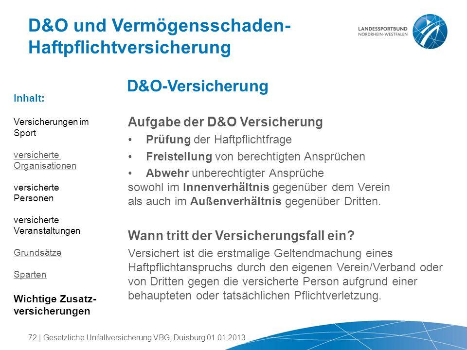 Aufgabe der D&O Versicherung Prüfung der Haftpflichtfrage Freistellung von berechtigten Ansprüchen Abwehr unberechtigter Ansprüche sowohl im Innenverh