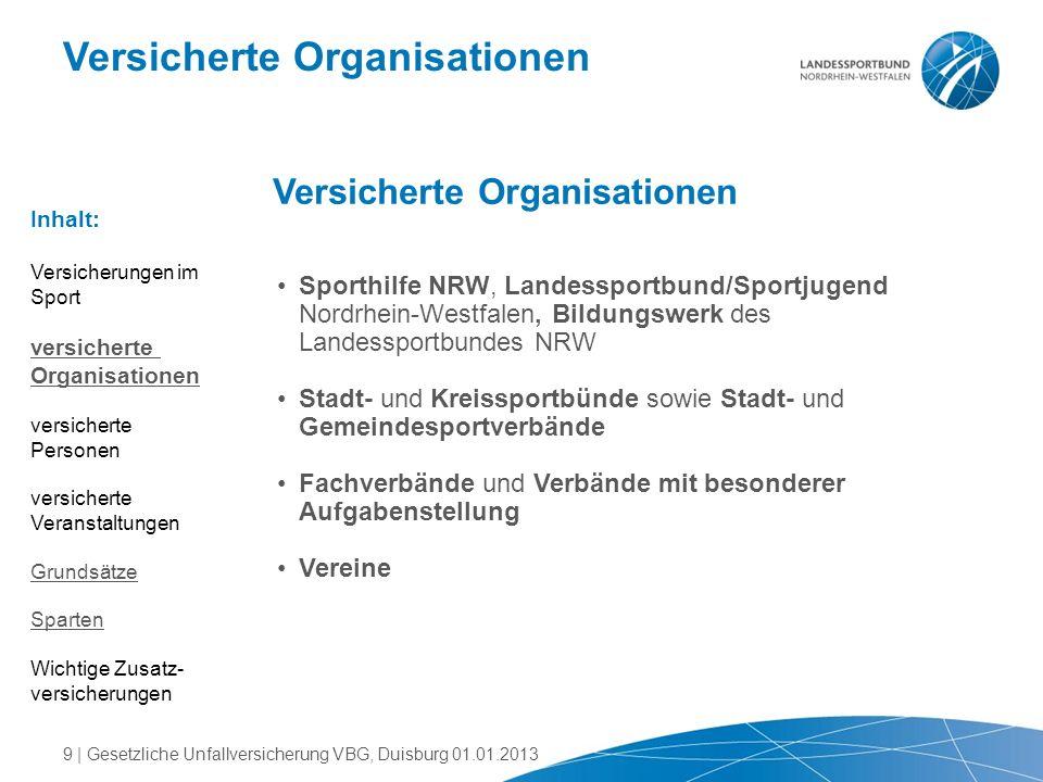 Versicherte Organisationen Sporthilfe NRW, Landessportbund/Sportjugend Nordrhein-Westfalen, Bildungswerk des Landessportbundes NRW Stadt- und Kreisspo