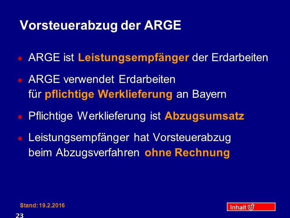 Inhalt Stand: 19.2.2016 23 Vorsteuerabzug der ARGE ARGE ist Leistungsempfänger der Erdarbeiten ARGE verwendet Erdarbeiten für pflichtige Werklieferung