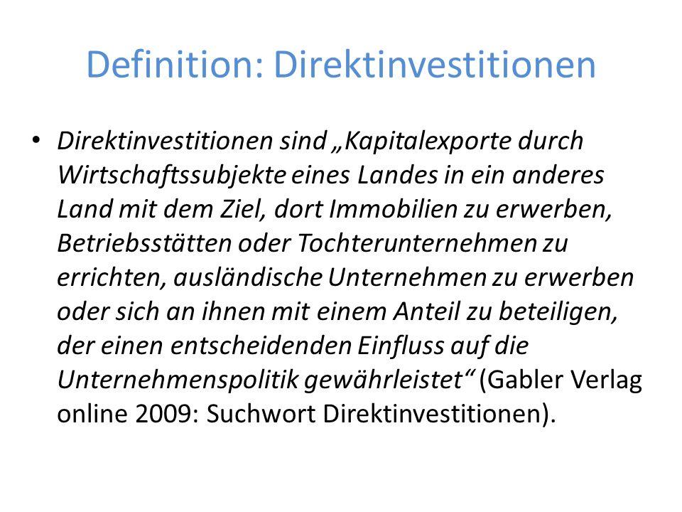 """Definition: Direktinvestitionen Direktinvestitionen sind """"Kapitalexporte durch Wirtschaftssubjekte eines Landes in ein anderes Land mit dem Ziel, dort"""