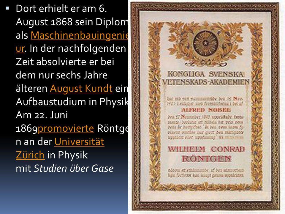  Dort erhielt er am 6.August 1868 sein Diplom als Maschinenbauingenie ur.
