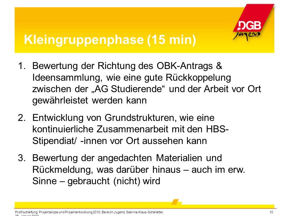 Profilschärfung: Projektskizze und Projektentwicklung 2010, Bereich Jugend, Sabrina Klaus-Schelletter, 26. Januar 2010 10 Kleingruppenphase (15 min) 1