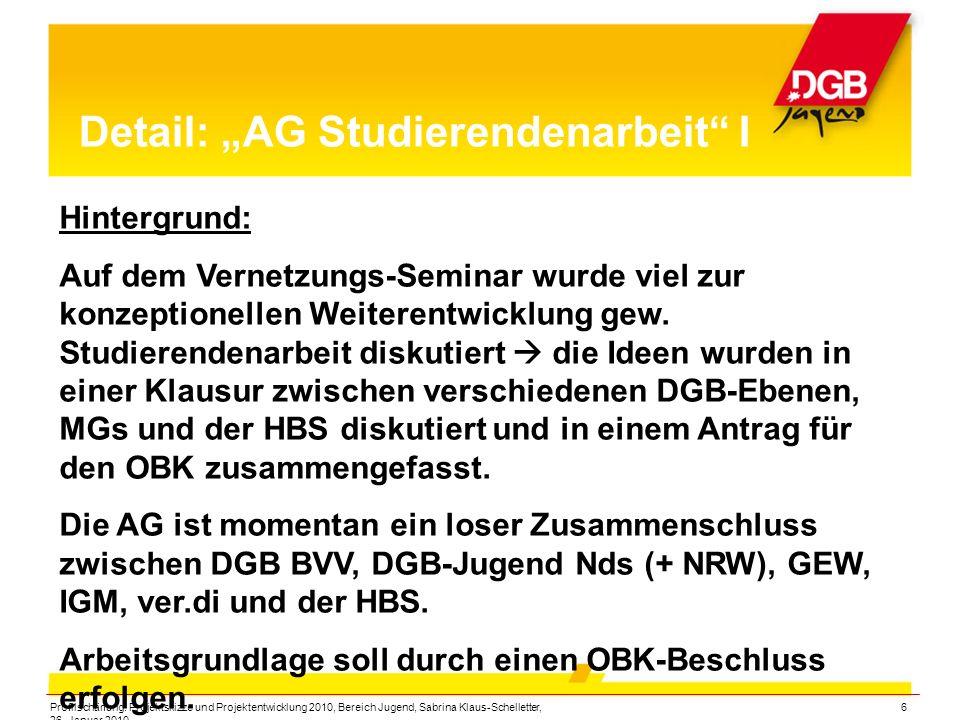 """Profilschärfung: Projektskizze und Projektentwicklung 2010, Bereich Jugend, Sabrina Klaus-Schelletter, 26. Januar 2010 6 Detail: """"AG Studierendenarbei"""