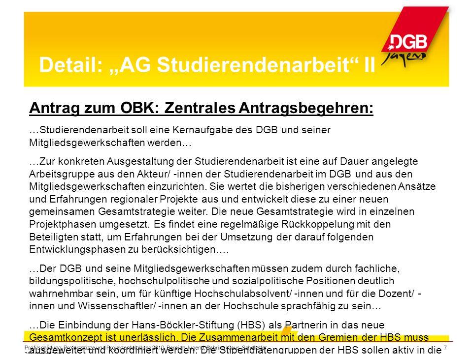 """Profilschärfung: Projektskizze und Projektentwicklung 2010, Bereich Jugend, Sabrina Klaus-Schelletter, 26. Januar 2010 7 Detail: """"AG Studierendenarbei"""
