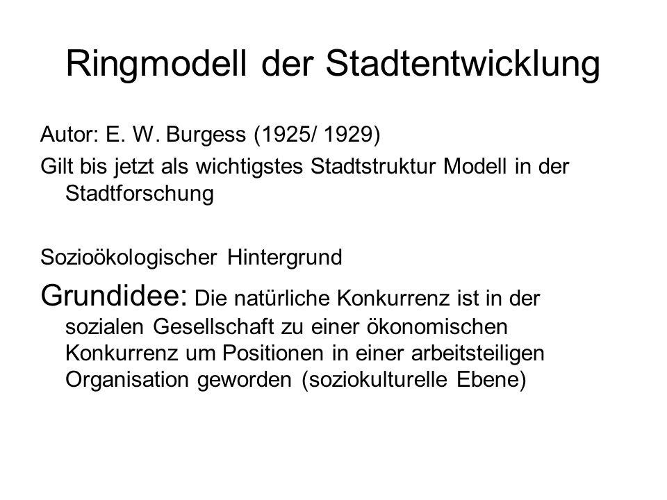 Ringmodell der Stadtentwicklung Autor: E. W. Burgess (1925/ 1929) Gilt bis jetzt als wichtigstes Stadtstruktur Modell in der Stadtforschung Sozioökolo