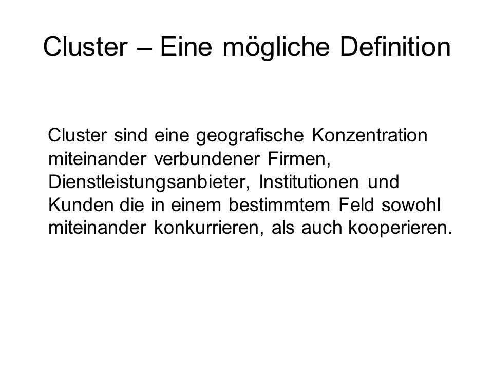 Cluster – Eine mögliche Definition Cluster sind eine geografische Konzentration miteinander verbundener Firmen, Dienstleistungsanbieter, Institutionen und Kunden die in einem bestimmtem Feld sowohl miteinander konkurrieren, als auch kooperieren.