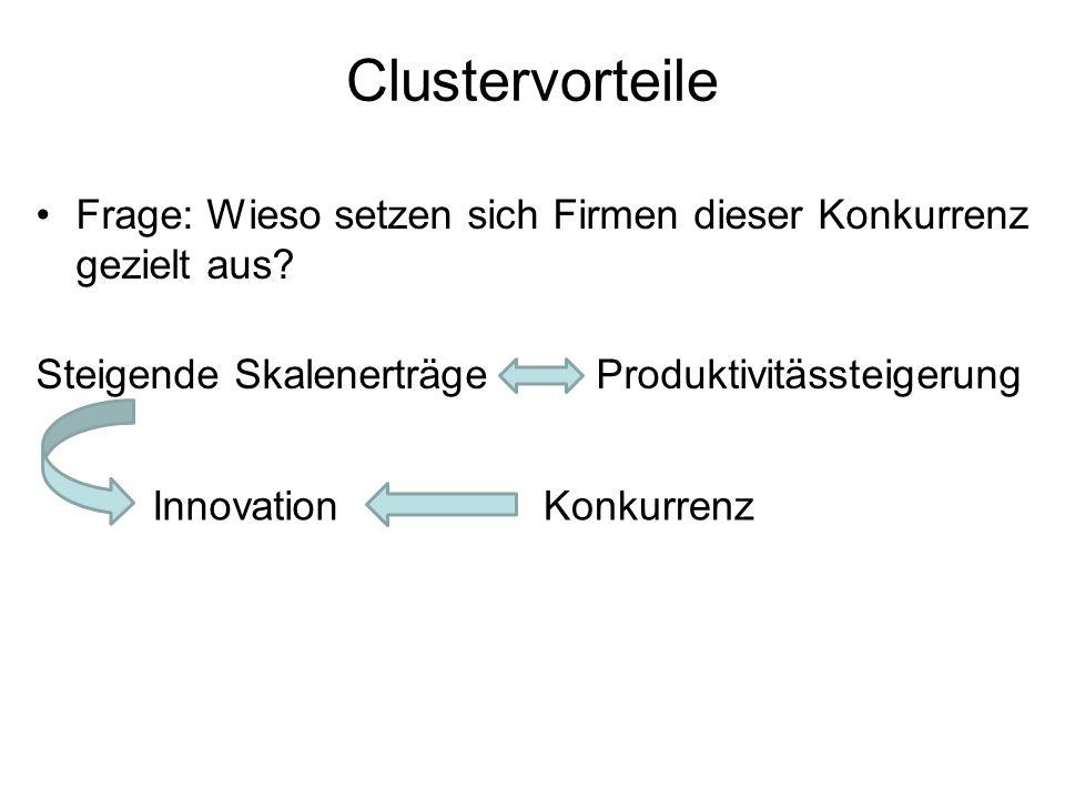 Clustervorteile Frage: Wieso setzen sich Firmen dieser Konkurrenz gezielt aus? Steigende Skalenerträge Produktivitässteigerung InnovationKonkurrenz