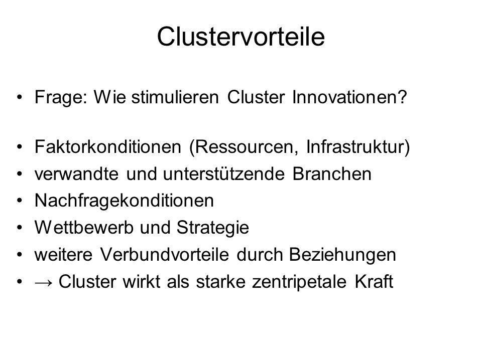 Clustervorteile Frage: Wie stimulieren Cluster Innovationen? Faktorkonditionen (Ressourcen, Infrastruktur) verwandte und unterstützende Branchen Nachf