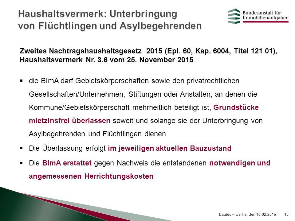 Zweites Nachtragshaushaltsgesetz 2015 (Epl. 60, Kap. 6004, Titel 121 01), Haushaltsvermerk Nr. 3.6 vom 25. November 2015  die BImA darf Gebietskörper