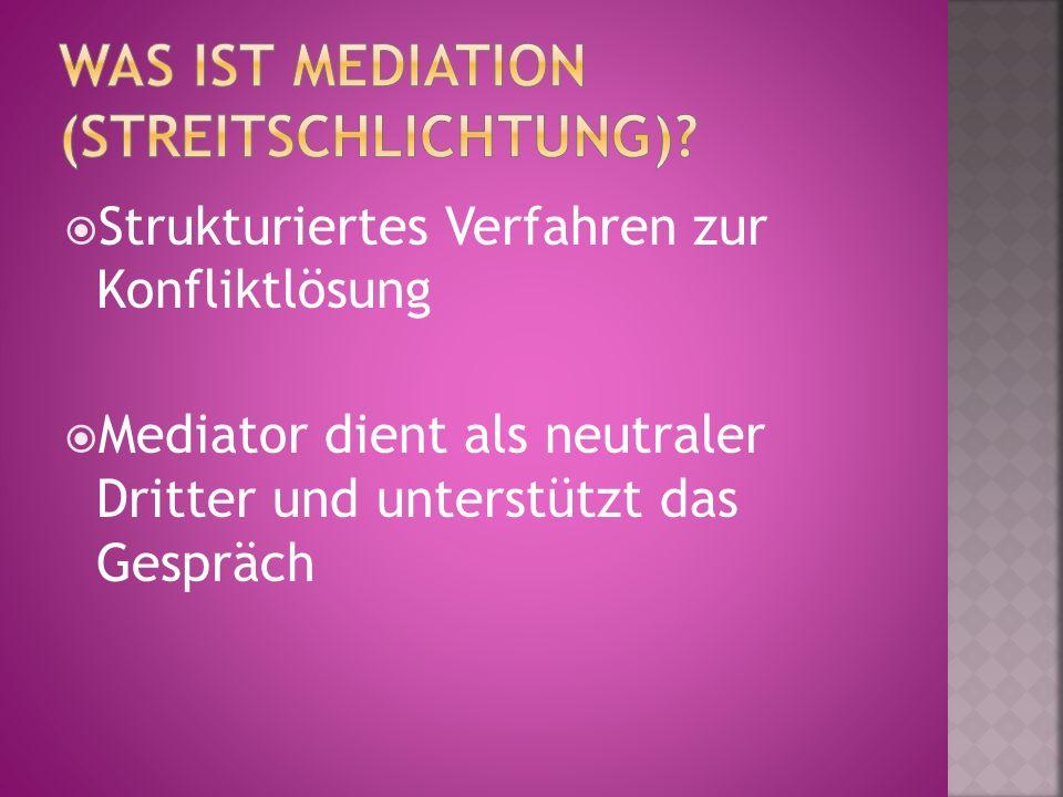  Strukturiertes Verfahren zur Konfliktlösung  Mediator dient als neutraler Dritter und unterstützt das Gespräch