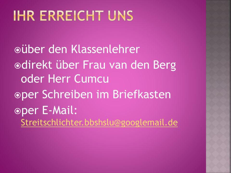  über den Klassenlehrer  direkt über Frau van den Berg oder Herr Cumcu  per Schreiben im Briefkasten  per E-Mail: Streitschlichter.bbshslu@googlemail.de Streitschlichter.bbshslu@googlemail.de