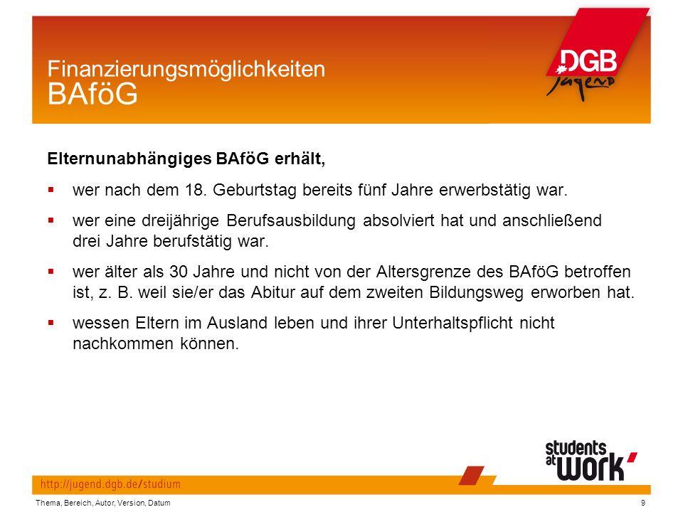 Thema, Bereich, Autor, Version, Datum9 Finanzierungsmöglichkeiten BAföG Elternunabhängiges BAföG erhält,  wer nach dem 18.