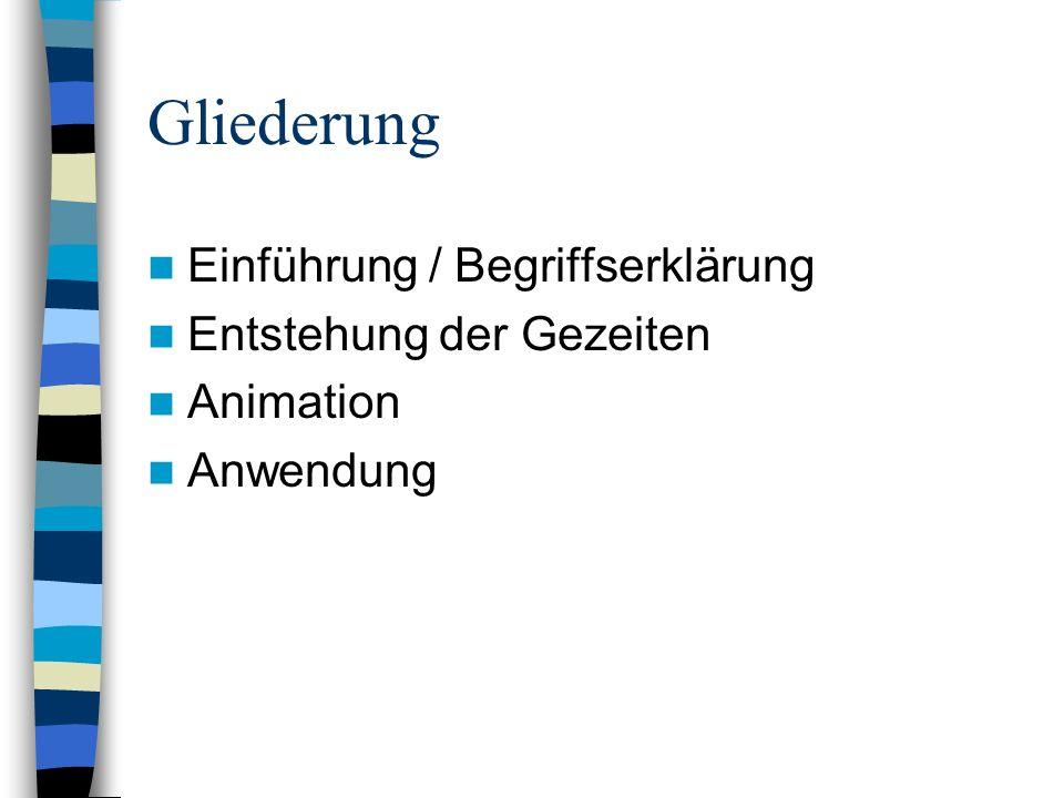 Gliederung Einführung / Begriffserklärung Entstehung der Gezeiten Animation Anwendung