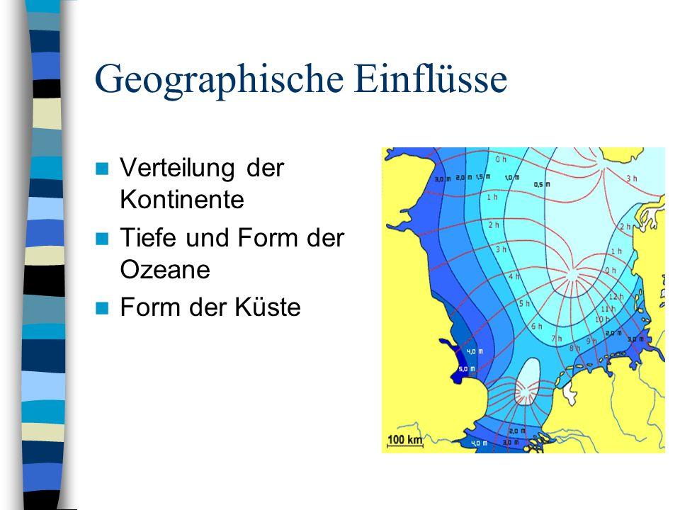 Geographische Einflüsse Verteilung der Kontinente Tiefe und Form der Ozeane Form der Küste
