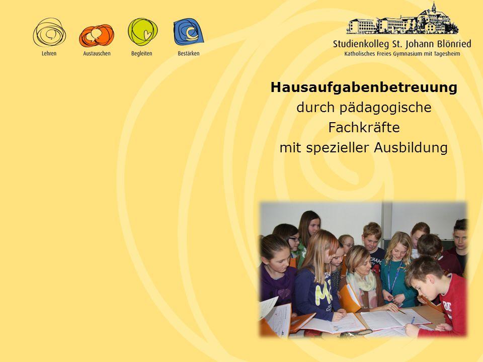 Hausaufgabenbetreuung durch pädagogische Fachkräfte mit spezieller Ausbildung