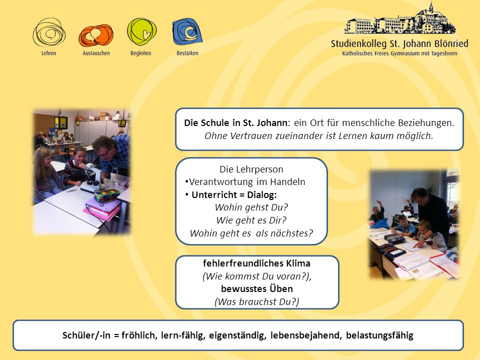 Schüler/-in = fröhlich, lern-fähig, eigenständig, lebensbejahend, belastungsfähig Die Schule in St. Johann: ein Ort für menschliche Beziehungen. Ohne
