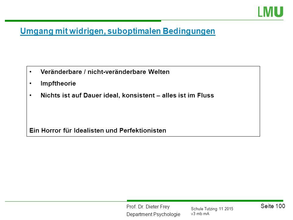 Prof. Dr. Dieter Frey Department Psychologie Seite 100 Schule Tutzing 11 2015 v3 mb mA Umgang mit widrigen, suboptimalen Bedingungen Veränderbare / ni
