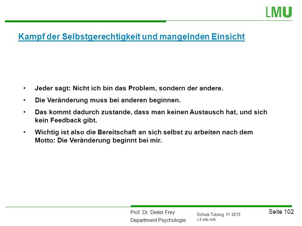 Prof. Dr. Dieter Frey Department Psychologie Seite 102 Schule Tutzing 11 2015 v3 mb mA Kampf der Selbstgerechtigkeit und mangelnden Einsicht Jeder sag