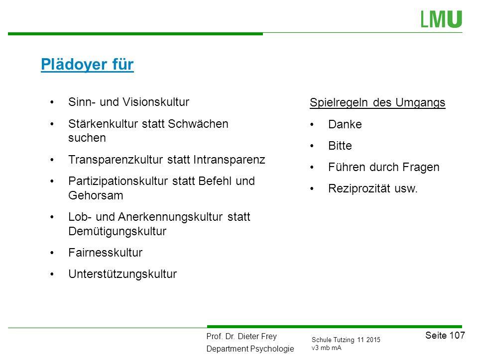Prof. Dr. Dieter Frey Department Psychologie Seite 107 Schule Tutzing 11 2015 v3 mb mA Plädoyer für Sinn- und Visionskultur Stärkenkultur statt Schwäc