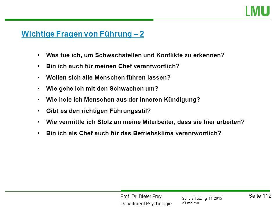Prof. Dr. Dieter Frey Department Psychologie Seite 112 Schule Tutzing 11 2015 v3 mb mA Wichtige Fragen von Führung – 2 111 Was tue ich, um Schwachstel