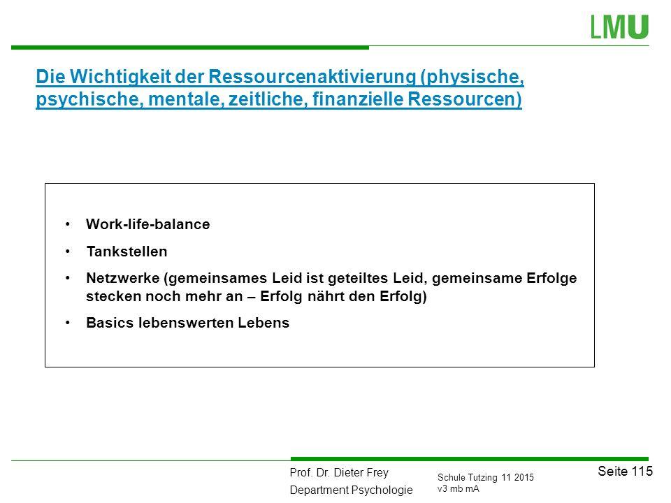 Prof. Dr. Dieter Frey Department Psychologie Seite 115 Schule Tutzing 11 2015 v3 mb mA Die Wichtigkeit der Ressourcenaktivierung (physische, psychisch