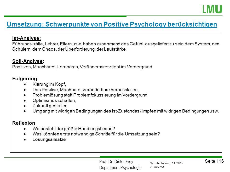 Prof. Dr. Dieter Frey Department Psychologie Seite 116 Schule Tutzing 11 2015 v3 mb mA Umsetzung: Schwerpunkte von Positive Psychology berücksichtigen