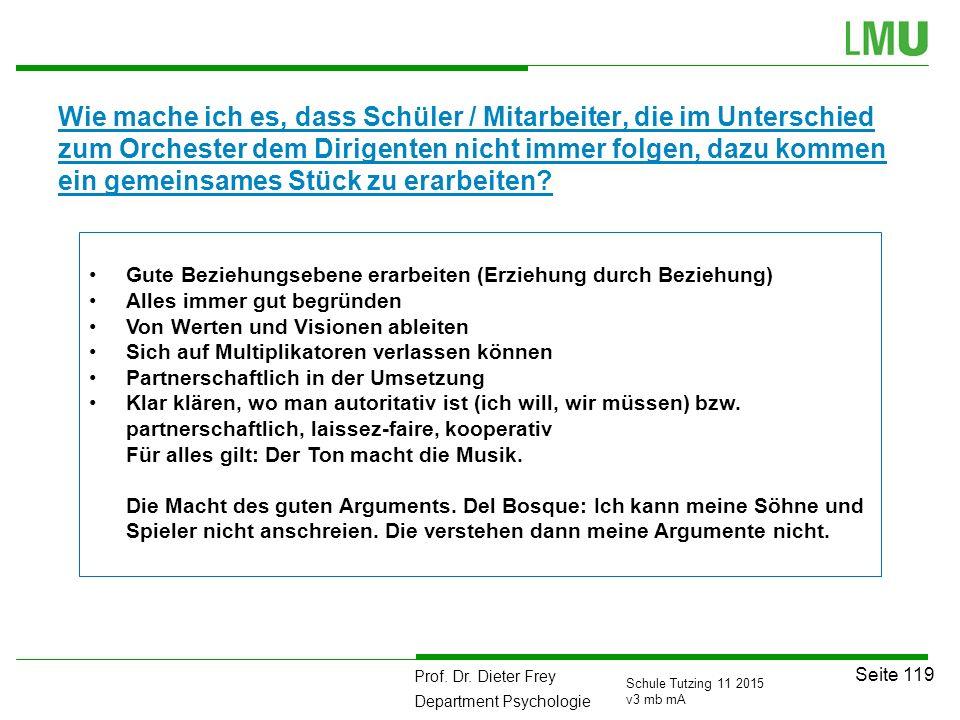 Prof. Dr. Dieter Frey Department Psychologie Seite 119 Schule Tutzing 11 2015 v3 mb mA Wie mache ich es, dass Schüler / Mitarbeiter, die im Unterschie