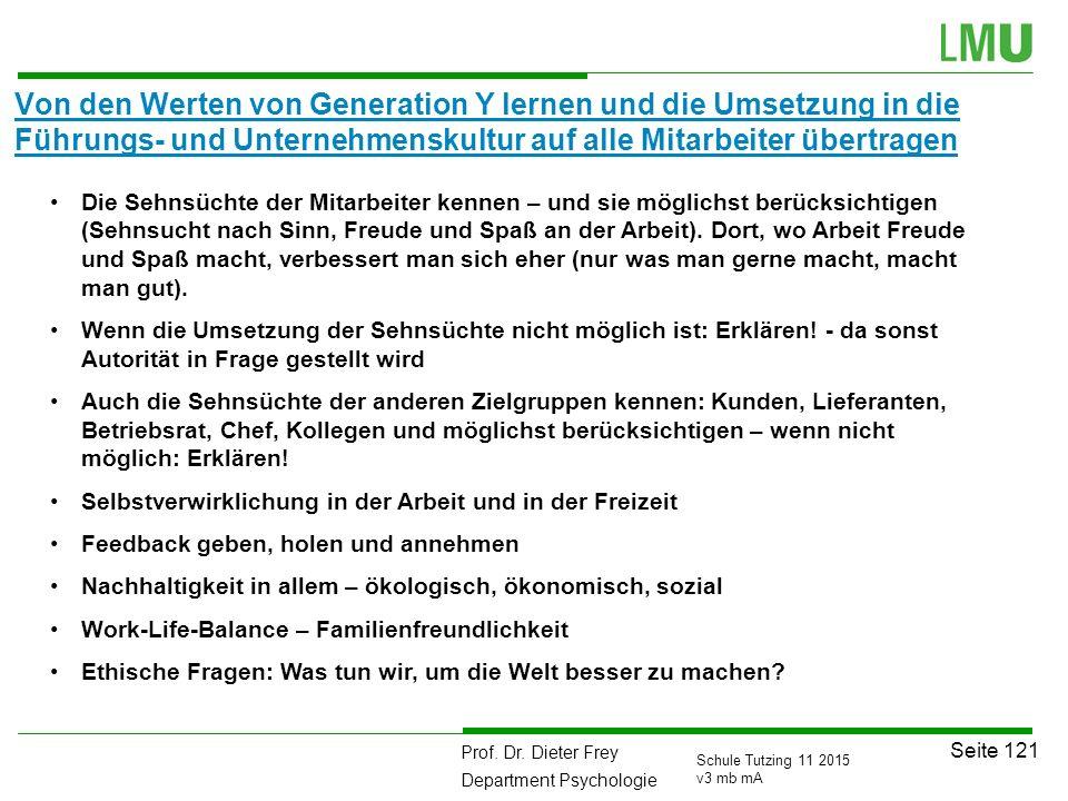 Prof. Dr. Dieter Frey Department Psychologie Seite 121 Schule Tutzing 11 2015 v3 mb mA Von den Werten von Generation Y lernen und die Umsetzung in die