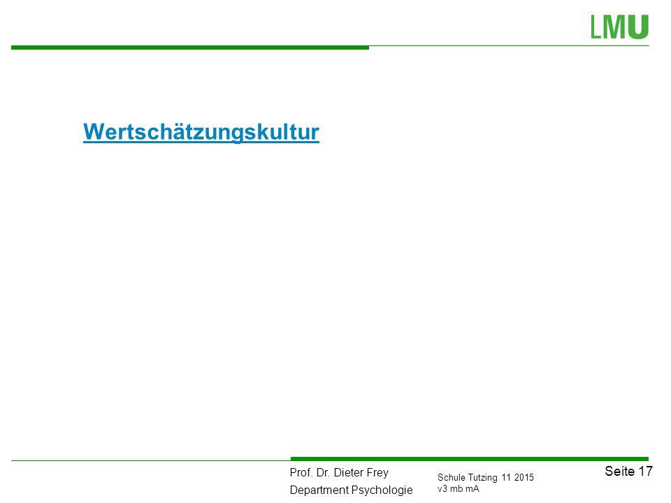 Prof. Dr. Dieter Frey Department Psychologie Seite 17 Schule Tutzing 11 2015 v3 mb mA Wertschätzungskultur 111