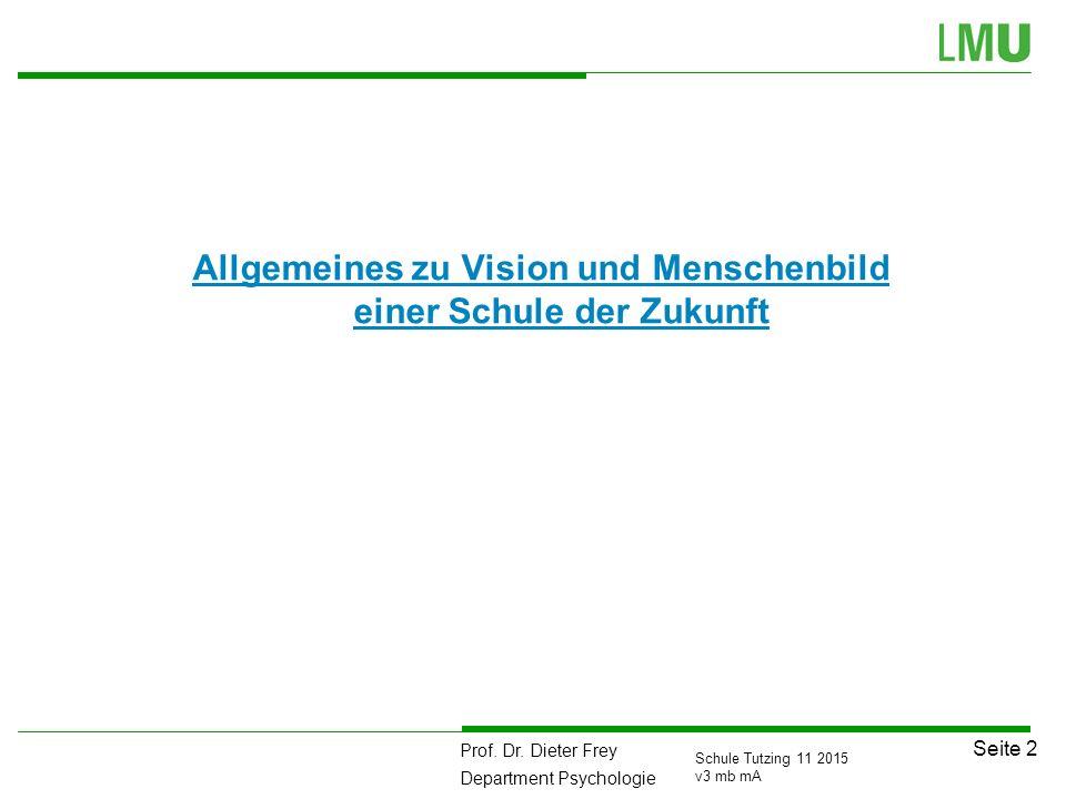 Prof. Dr. Dieter Frey Department Psychologie Seite 2 Schule Tutzing 11 2015 v3 mb mA Allgemeines zu Vision und Menschenbild einer Schule der Zukunft