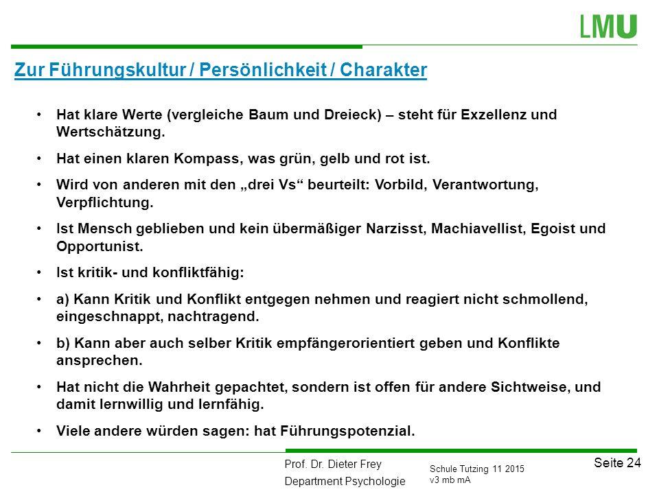 Prof. Dr. Dieter Frey Department Psychologie Seite 24 Schule Tutzing 11 2015 v3 mb mA Zur Führungskultur / Persönlichkeit / Charakter 111 Hat klare We