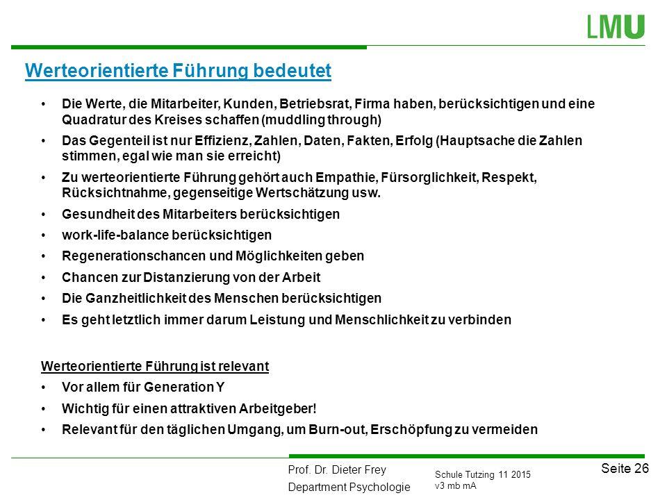 Prof. Dr. Dieter Frey Department Psychologie Seite 26 Schule Tutzing 11 2015 v3 mb mA Werteorientierte Führung bedeutet Die Werte, die Mitarbeiter, Ku