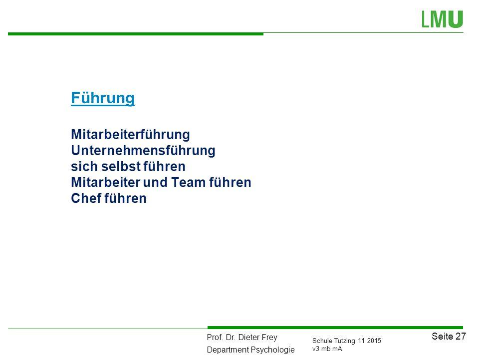 Prof. Dr. Dieter Frey Department Psychologie Seite 27 Schule Tutzing 11 2015 v3 mb mA Führung Mitarbeiterführung Unternehmensführung sich selbst führe