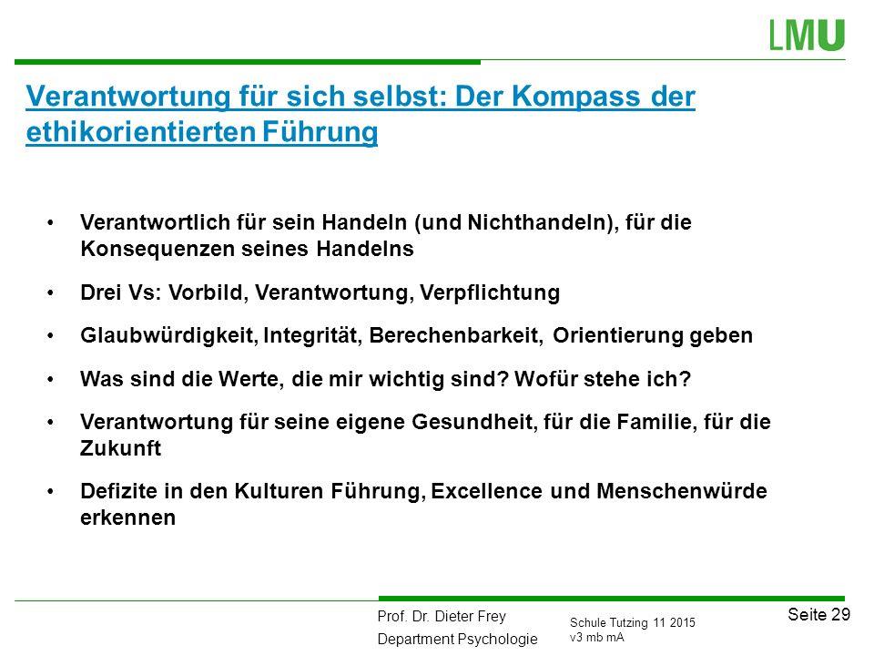 Prof. Dr. Dieter Frey Department Psychologie Seite 29 Schule Tutzing 11 2015 v3 mb mA Verantwortung für sich selbst: Der Kompass der ethikorientierten