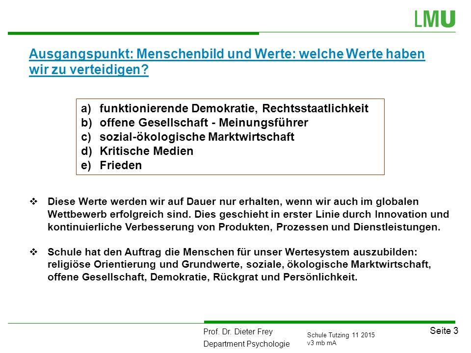 Prof. Dr. Dieter Frey Department Psychologie Seite 3 Schule Tutzing 11 2015 v3 mb mA Ausgangspunkt: Menschenbild und Werte: welche Werte haben wir zu