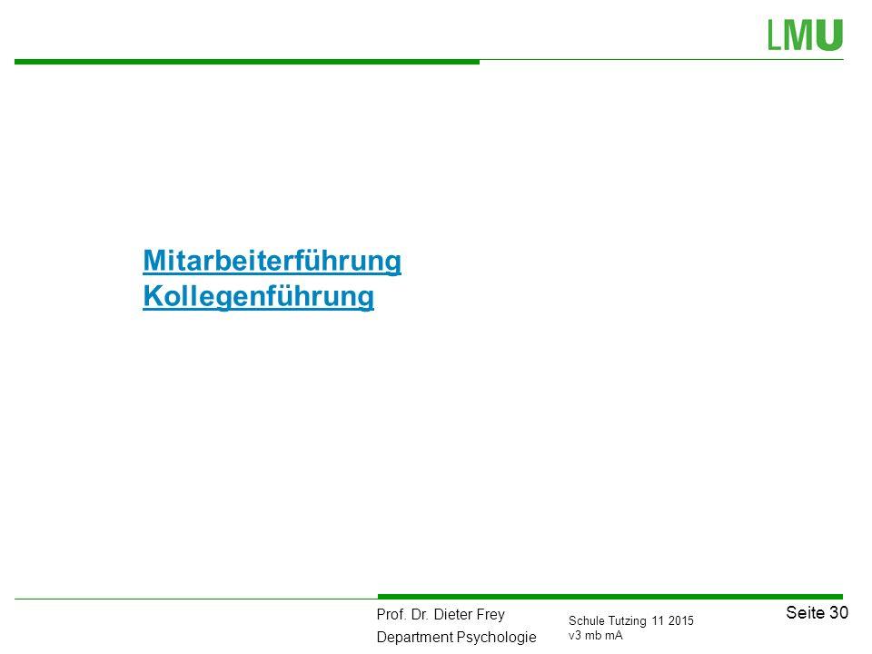 Prof. Dr. Dieter Frey Department Psychologie Seite 30 Schule Tutzing 11 2015 v3 mb mA Mitarbeiterführung Kollegenführung
