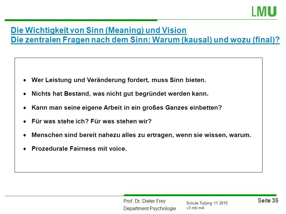 Prof. Dr. Dieter Frey Department Psychologie Seite 35 Schule Tutzing 11 2015 v3 mb mA Die Wichtigkeit von Sinn (Meaning) und Vision Die zentralen Frag