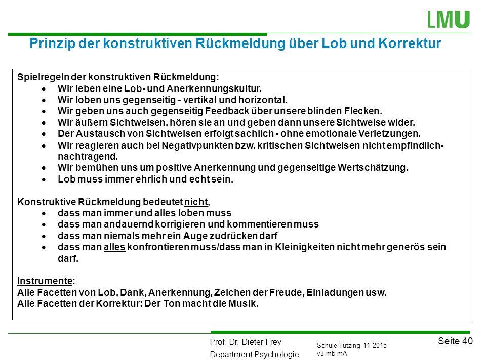 Prof. Dr. Dieter Frey Department Psychologie Seite 40 Schule Tutzing 11 2015 v3 mb mA Prinzip der konstruktiven Rückmeldung über Lob und Korrektur Spi