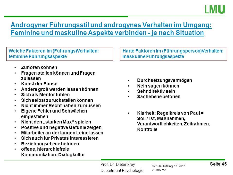 Prof. Dr. Dieter Frey Department Psychologie Seite 45 Schule Tutzing 11 2015 v3 mb mA Androgyner Führungsstil und androgynes Verhalten im Umgang: Femi