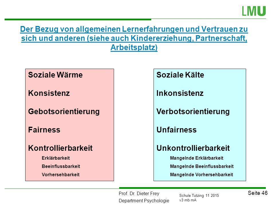 Prof. Dr. Dieter Frey Department Psychologie Seite 46 Schule Tutzing 11 2015 v3 mb mA Der Bezug von allgemeinen Lernerfahrungen und Vertrauen zu sich