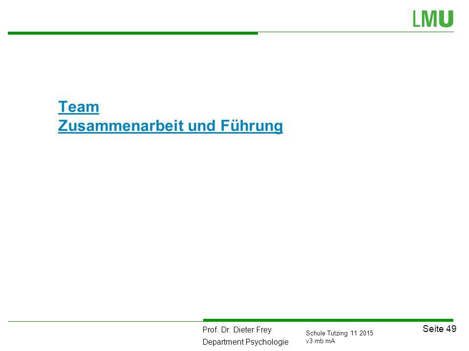 Prof. Dr. Dieter Frey Department Psychologie Seite 49 Schule Tutzing 11 2015 v3 mb mA Team Zusammenarbeit und Führung