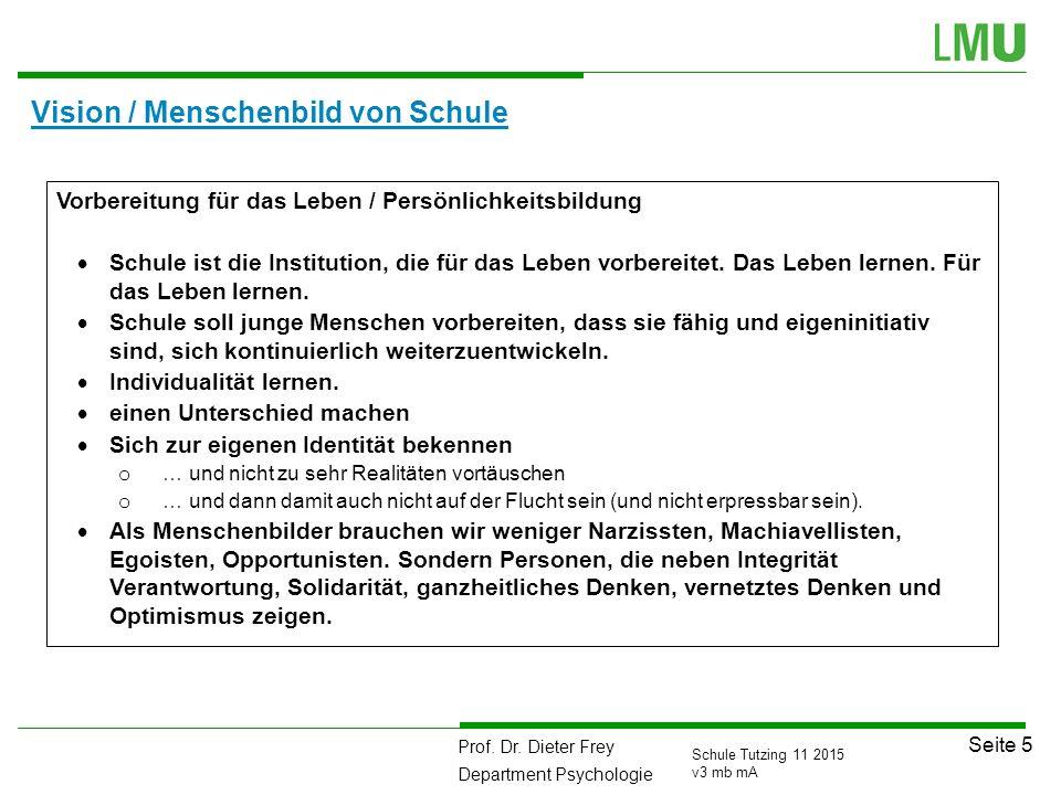 Prof. Dr. Dieter Frey Department Psychologie Seite 5 Schule Tutzing 11 2015 v3 mb mA Vision / Menschenbild von Schule Vorbereitung für das Leben / Per