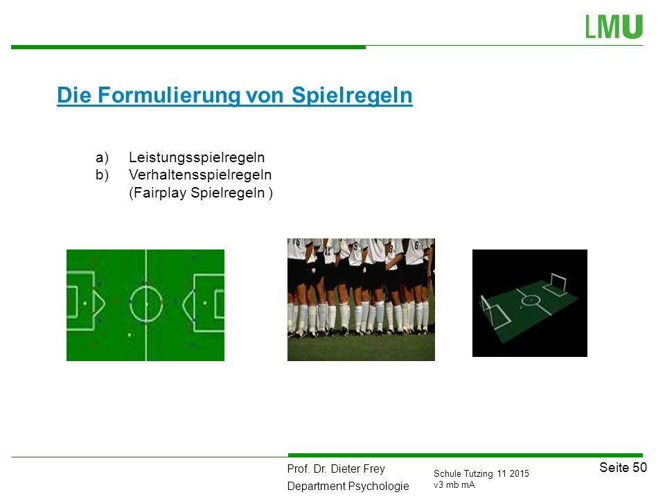 Prof. Dr. Dieter Frey Department Psychologie Seite 50 Schule Tutzing 11 2015 v3 mb mA Die Formulierung von Spielregeln a)Leistungsspielregeln b)Verhal