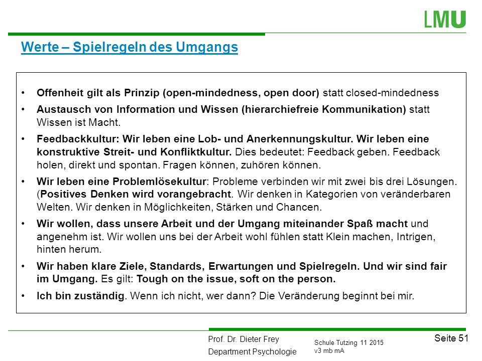 Prof. Dr. Dieter Frey Department Psychologie Seite 51 Schule Tutzing 11 2015 v3 mb mA Werte – Spielregeln des Umgangs Offenheit gilt als Prinzip (open